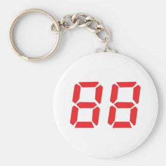 88 eighty-eight red alarm clock digital number basic round button keychain