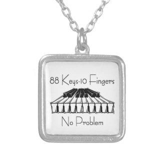 88 Keys 10 Fingers, No Problem Gifts Square Pendant Necklace