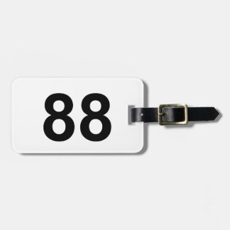 88 - number eighty-eight luggage tag