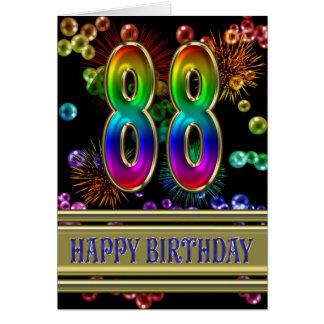 88.o Cumpleaños con las burbujas y los fuegos Tarjeta De Felicitación