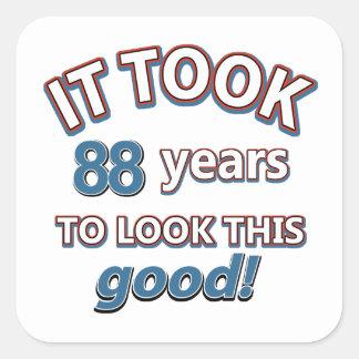 88.os diseños años del cumpleaños pegatina cuadrada