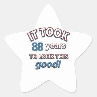 88.os diseños del cumpleaños del año pegatina en forma de estrella