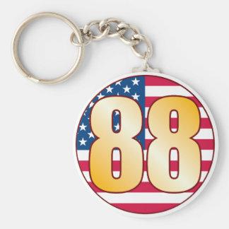 88 USA Gold Basic Round Button Keychain
