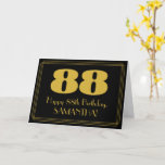 "[ Thumbnail: 88th Birthday: Art Deco Inspired Look ""88"" & Name Card ]"