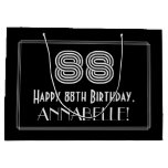 "[ Thumbnail: 88th Birthday — Art Deco Inspired Look ""88"" & Name Gift Bag ]"