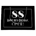 "[ Thumbnail: 88th Birthday: Art Deco Inspired Style ""88"", Name Gift Bag ]"