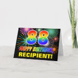 [ Thumbnail: 88th Birthday: Bold, Fun, Fireworks, Rainbow 88 Card ]