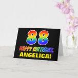 [ Thumbnail: 88th Birthday: Bold, Fun, Simple, Rainbow 88 Card ]