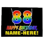 [ Thumbnail: 88th Birthday: Bold, Fun, Simple, Rainbow 88 Gift Bag ]