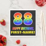 [ Thumbnail: 88th Birthday: Bold, Fun, Simple, Rainbow 88 Napkins ]
