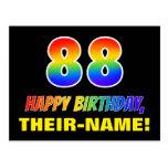 [ Thumbnail: 88th Birthday: Bold, Fun, Simple, Rainbow 88 Postcard ]