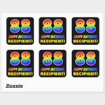 [ Thumbnail: 88th Birthday: Bold, Fun, Simple, Rainbow 88 Sticker ]