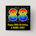[ Thumbnail: 88th Birthday: Colorful Music Symbols, Rainbow 88 Button ]