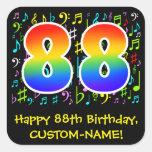 [ Thumbnail: 88th Birthday: Colorful Music Symbols, Rainbow 88 Sticker ]