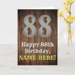 [ Thumbnail: 88th Birthday: Country Western Inspired Look, Name Card ]