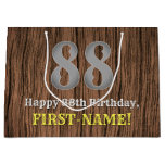 [ Thumbnail: 88th Birthday: Country Western Inspired Look, Name Gift Bag ]