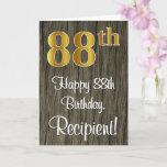 [ Thumbnail: 88th Birthday: Elegant Faux Gold Look #, Faux Wood Card ]
