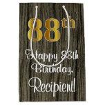 [ Thumbnail: 88th Birthday: Elegant Faux Gold Look #, Faux Wood Gift Bag ]