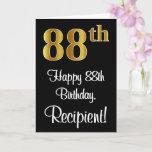 [ Thumbnail: 88th Birthday ~ Elegant Luxurious Faux Gold Look # Card ]