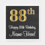 [ Thumbnail: 88th Birthday ~ Elegant Luxurious Faux Gold Look # Napkins ]