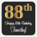 [ Thumbnail: 88th Birthday – Elegant Luxurious Faux Gold Look # Sticker ]