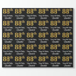 [ Thumbnail: 88th Birthday: Elegant Luxurious Faux Gold Look # Wrapping Paper ]