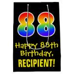 "[ Thumbnail: 88th Birthday: Fun, Bold, Colorful, Rainbow ""88"" Gift Bag ]"