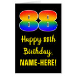[ Thumbnail: 88th Birthday: Fun, Colorful, Happy, Rainbow # 88 Card ]