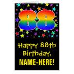 [ Thumbnail: 88th Birthday: Fun, Colorful Stars + Rainbow # 88 Card ]
