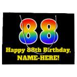 [ Thumbnail: 88th Birthday ~ Fun, Colorful, Vibrant, Rainbow 88 Gift Bag ]