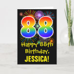 [ Thumbnail: 88th Birthday: Fun Fireworks Pattern + Rainbow 88 Card ]