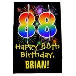 [ Thumbnail: 88th Birthday: Fun Fireworks Pattern + Rainbow 88 Gift Bag ]