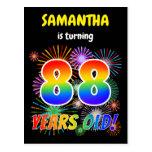 "[ Thumbnail: 88th Birthday - Fun Fireworks, Rainbow Look ""88"" Postcard ]"