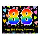 [ Thumbnail: 88th Birthday: Fun Hearts Pattern, Rainbow 88 Postcard ]