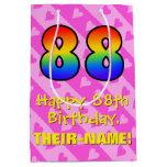 [ Thumbnail: 88th Birthday: Fun Pink Hearts Stripes; Rainbow 88 Gift Bag ]