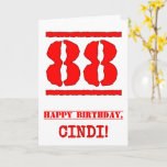 [ Thumbnail: 88th Birthday: Fun, Red Rubber Stamp Inspired Look Card ]