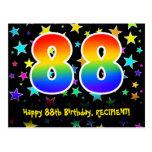 [ Thumbnail: 88th Birthday: Fun Stars Pattern, Rainbow 88, Name Postcard ]