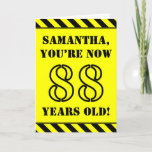 [ Thumbnail: 88th Birthday: Fun Stencil Style Text, Custom Name Card ]
