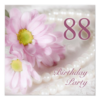 88th Birthday party invitation with daisies