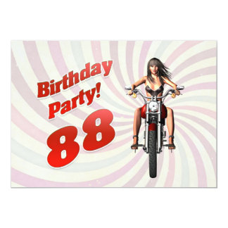 88th birthday party with a girl on a motorbike card