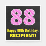 "[ Thumbnail: 88th Birthday: Pink Stripes and Hearts ""88"" + Name Napkins ]"