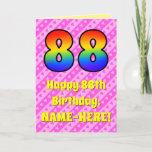 [ Thumbnail: 88th Birthday: Pink Stripes & Hearts, Rainbow # 88 Card ]