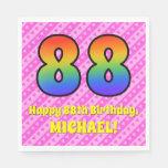 [ Thumbnail: 88th Birthday: Pink Stripes & Hearts, Rainbow # 88 Napkins ]