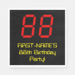 "[ Thumbnail: 88th Birthday: Red Digital Clock Style ""88"" + Name Napkins ]"