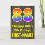 "[ Thumbnail: 88th Birthday: Rustic Faux Wood Look, Rainbow ""88"" Card ]"