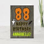 [ Thumbnail: 88th Birthday: Spooky Halloween Theme, Custom Name Card ]
