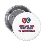 88th year old birthday designs button