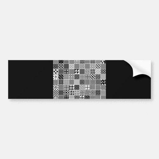 891-MonochromeGeometric BLACK WHITE GREY SQUARE GR Bumper Sticker