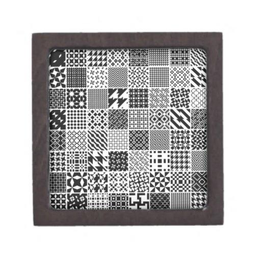 891-MonochromeGeometric BLACK WHITE GREY SQUARE GR Premium Keepsake Box