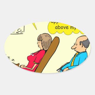 892 Private thought bubble therapist cartoon Oval Sticker